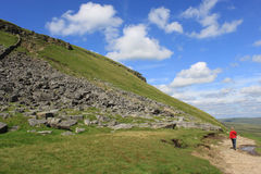 Walker on the footpath to Pen-y-ghent N Yorkshire Stock Photo