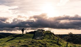 Walker by Hadrian`s Wall Stock Image