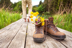 Walker or hiker makes break Stock Photo