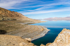 Walker Lake Drought Effect. Prolonged drought has reduced the water level at Nevada's Walker Lake to record low levels, 140 feet below the1882 water level Royalty Free Stock Images