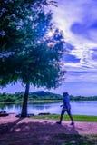 Walker In The Park After-het Werk royalty-vrije stock afbeelding