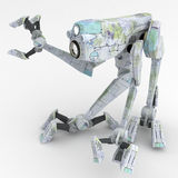 Walker Robot, Reach. Small 3d Walker Robots, isolated Royalty Free Stock Photos