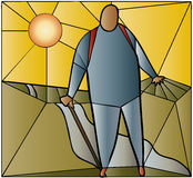 Walker stained glass. Stained glass window of walker at sunset Stock Images