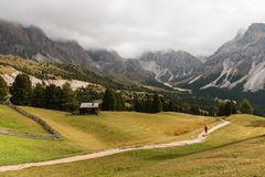 Walker on track in Dolomites Royalty Free Stock Image