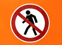 Walker traffic sign. Disallowed entry Stock Images