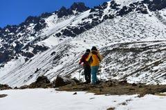 The Walker at trailhead of Bogda Mountain Stock Photos