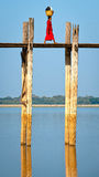 Walker on ubein bridge,myanmar Royalty Free Stock Photos