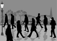 Walkers. People walking in the park Royalty Free Stock Image