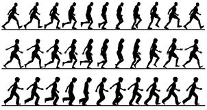 Walkers. Editable vector silhouette sequences of people walking Royalty Free Stock Photography