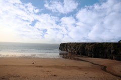 Walkers and the ballybunion cliffs Stock Image