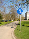 Walkers and cyclists only. Traffic sign- the road for walking and cycle racing only Stock Photography