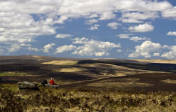 Walkers enjoying a view across Dartmoor Stock Photos