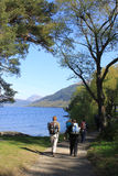 Walkers by Loch Lomond on West Highland Way Royalty Free Stock Images