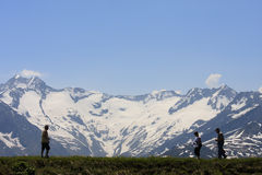 Walkers over the Latschenalm, Gerlos, Austria Stock Photo
