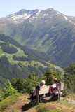 Walkers are resting at Latschenalm, Gerlos, Tyrol Stock Photo