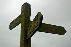 Walkers Signpost Yorkshire Dales National Park stock images