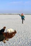 walki dziewczyn snowball zdjęcia stock