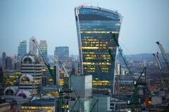 Walkie-talkie τραπεζικές εργασίες και γραφείο aria κτηρίου και Canary Wharf στο υπόβαθρο Λονδίνο UK Στοκ Φωτογραφίες
