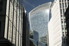 The Walkie Talkie Building seen from Fenchurch St. The Walkie Talkie Building, seen through the canyon like buildings of Fenchurch Street London Stock Image