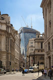 Walkie Talkie building, view from the Bank of England square Royalty Free Stock Images