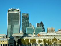 The Walkie Talkie and other New London Buildings on the North Bank. High rise glass buildings on the north side of the river thames in london england stock photography