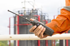 Walkie talkie for outdoor. Man with walkie talkie for outdoor Stock Image