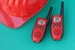 Helmet safety with walkie talkie stock photo