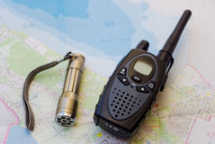 Walkie talkie and torch Royalty Free Stock Image