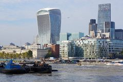 Walkie-Talkie Tower and River Barges, London, England Stock Photo