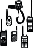 Walkietalkie. Silhouettes of six different radio stations (walkie-talkie Royalty Free Stock Photography