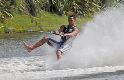 Walkin' on Water!. MW World Champion Barefoot Water Skier, Andre de Villiers (RSA)  on one foot forwards in the slalom event Stock Photography