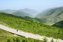Walking. A tourist is walking in Wutaishan in Shanxi province in China Royalty Free Stock Photos