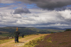 Walking. Man and dog walking along a moorland track with hills in distance royalty free stock photo