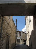 Walking. In the streets of Lefkara village, Cyprus Royalty Free Stock Image