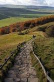 Walking Across Mam Torr Ridge Stock Photo