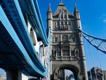 Walking across Tower Bridge. Historical landmark across River Thames. London stock photo
