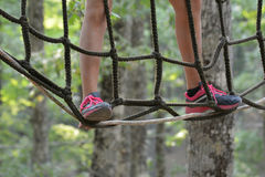 Walking at the adventure park Royalty Free Stock Photography