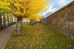 Walking on Aguilar de Campoo in autumn. stock photo