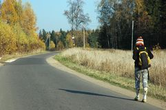 Walking alone stock image