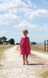 Walking Alone. A little girl in a pink dress walks alone on a dirt country road Stock Image