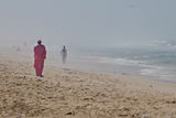 Walking alone in african beach. Walk Man Beach Alone Pink Sand Stock Image