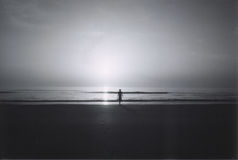 Walking alone on the beach stock photo