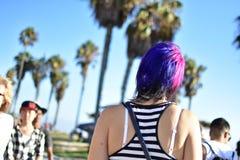 Walking alone palmtrees stock photos