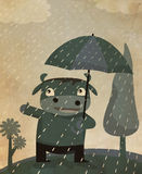 Walking alone under the rain. Kiddie drawing of a cow holding umbrella walks under the rain with vintage effect stock photos