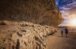 Walking along the Ajuy rocky coastline Royalty Free Stock Photo