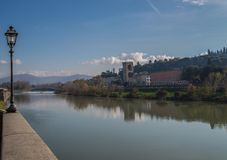 Walking along Arno river in Florence Royalty Free Stock Image