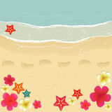 Walking Along The Beach. Plumerias, starfishes and footprints on the sand Royalty Free Stock Images
