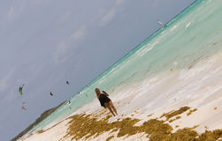 Walking Along The Beach. A woman walking along the beachin the Caribbean by the seaweed, with kiteboarders, windsufer and catamaran in the bacground Stock Image