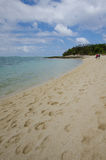 Walking along the beach of Mystery Island in Vanuatu Stock Photo