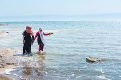 Walking along the coast of the Dead Sea Stock Photo